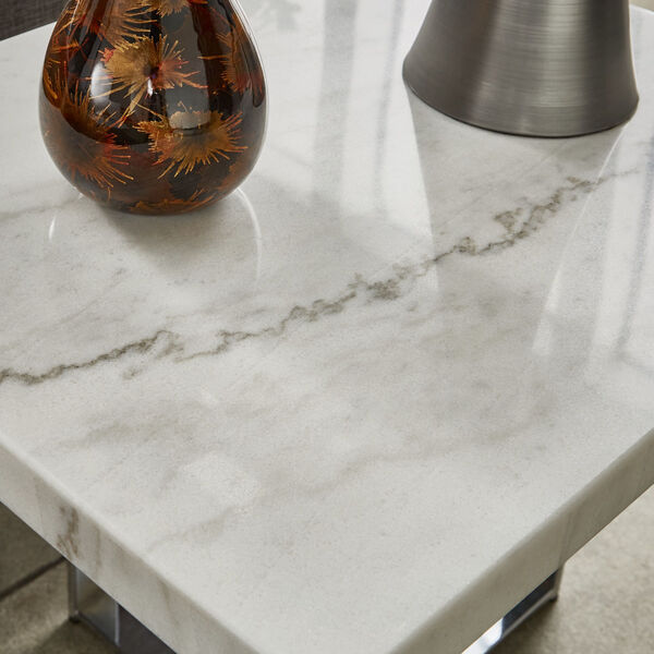 Diana Chrome Marble Top Framed End Table, image 4